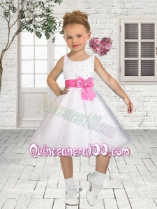 Princess Scoop Knee-length Flower Girl Dress in White with Bowknot