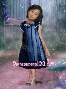 Romantic A-Line Bateau Hand Made Flowers and Ruffles Flower Girl Dress in Navy Blue