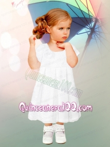 Short Sleeves A-Line Lace and Ruching Tea-length Flower Girl Dress with Scoop