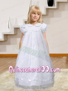 Simple A-Line Short Sleeves Appliques and Ruffles 2014 Flower Girl Dress with Floor-length