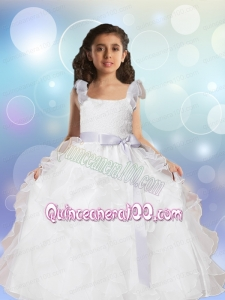 Square Sashes Floor-length 2014 Flower Girl Dress with Lace and Ruffles