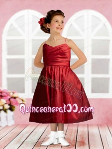 Taffeta Spaghetti Straps Tea-length Ruching Sophisticated Flower Girl Dress in Wine Red