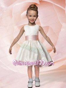 White A-Line Scoop Ribbons Knee-length Flower Girl Dress with Ribbons
