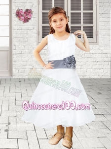 White Scoop Ankle-length Flower Girl Dress with Hand Made Flowers