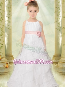 2014 A-Line Spaghetti Straps Beautiful Flower Girl Dress with Hand Made Flowers