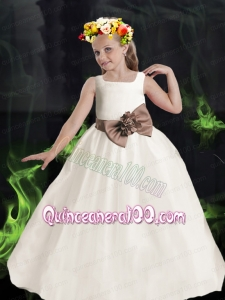 2014 Formal Ball Gown Scoop Flower Girl Dress with Bowknot