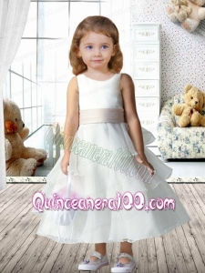 2014 Pretty A-Line Scoop Flower Girl Dress with Ruffled Layers