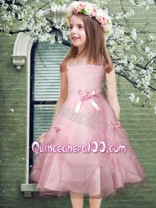 2014 Pretty Organza Spaghetti Straps Pink Flower Girl Dress