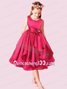 2014 Red A-Line Scoop Tea-length Bowknot Flower Girl Dresses