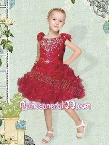 2014 Romantic Scoop Red Flower Girl Dress with Beading