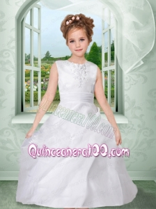 Ball Gown Scoop 2014 Flower Girl Dress with Appliques Ruching