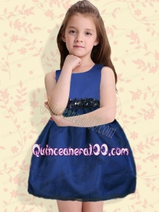 Classical Navy Blue Mini-length Scoop Navy Blue Flower Girl Dresses