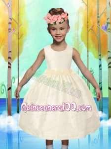 Comfortable Ball Gown Tea-length Ruching Flower Girl Dress