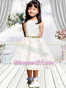 Cute A-Line Scoop Flower Girl Dress with Belt Appliques in White for 2014