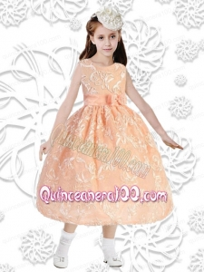 Elegant Ball Gown Sleeveless Tea-length Flower Girl Dress in Orange