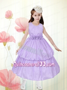 Lavender A-line Scoop Flower Girl Dress with Hand Made Flowers in Lavender for 2014