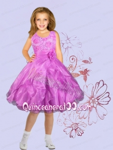 Lilac Organza Scoop A-Line Flower Girl Dress with Ruffles