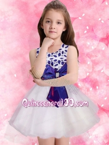 Low Price A-Line Scoop Mini-length Flower Girl Dress with Bowknot