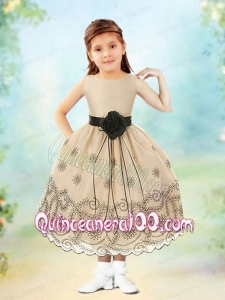 Perfect Ball Gown Scoop Tea-length Champagne Flower Girl Dresses
