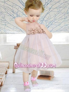 Romantic A-Line Scoop Hand Made Flowers Flower Girl Dress in Champagne for 2014
