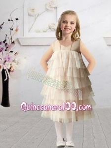 Romantic Champagne Empire Bateau Flower Girl Dress with Ruffles Layers for 2014