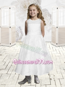 Smart White Scoop Ankle-length Flower Girl Dress with Embroidery
