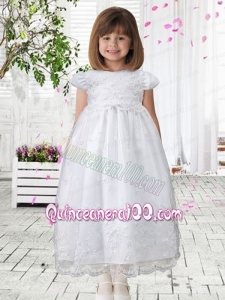 Sweet A-Line Scoop Appliques Flower Girl Dress with Short Sleeves