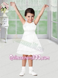 Sweet A-Line Scoop Mini-length Flower Girl Dress in White