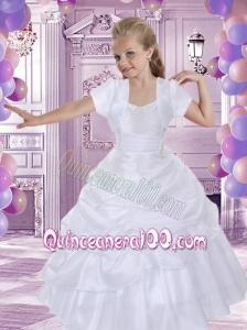 White Taffeta A-Line Short Sleeves Flower Girl Dress with Pick-ups