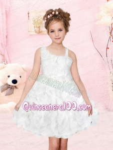 wwwRomantic A-Line Asymmetrical Flower Girl Dress with Ruffles Bowknot in White for 2014