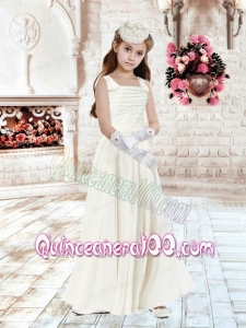 2014 Beautiful Column Square Champagne Flower Girl Dresses with Ruching