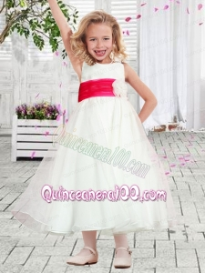 2014 Cheap A-Line Scoop Belt Flower Girl Dress with Tea-length