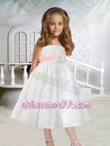 A-Line Tea-length Hand Made Flowers Flower Girl Dress with Lace