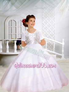 Ball Gown Scoop Short Sleeveless Flower Girl Dresses with Bowknot