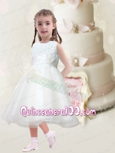 Beautiful A-Line Scoop Flower Girl Dress with Hand Made Flowers Belt in White for 2014