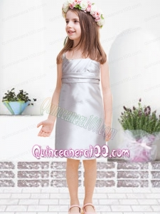 Beautiful Empire Straps Mini-length Ruching Flower Girl Dress in Silver