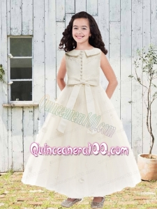 Champagne Scoop Ankle-length Flower Girl Dress with Zipper-up