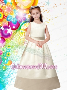 Champagne Scoop Floor-length Flower Girl Dress with Bowknot