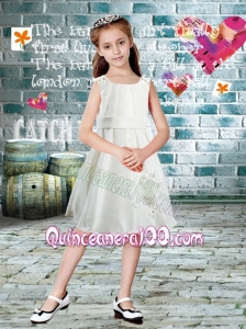 Cheap Chiffon Scoop A-Line Knee-length Flower Girl Dress