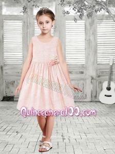 Elegant A-Line Scoop Flower Girl Dress with Hand Made Flowers in Pink for 2014
