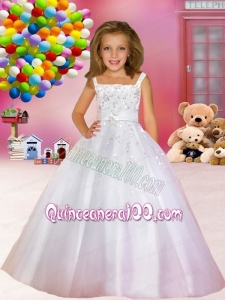 Elegant Tulle Straps A-Line Flower Girl Dresses with Zipper-up
