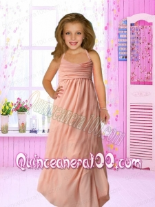 Empire Halter Peach Flower Girl Dress with Ruching