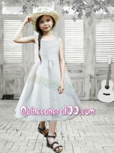Gray Scoop Princess Tea-length Flower Girl Dresses