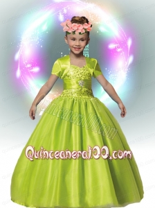 Green Ball Gown Straps 2014 Flower Girl Dress with Beading