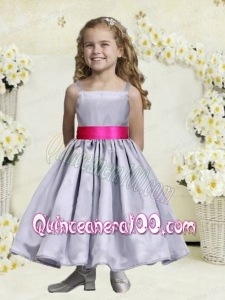 Nice Gray Spaghetti Straps Ankle-length Flower Girl Dress For 2014