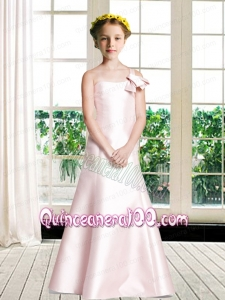 One Shoulder Floor-length Flower Girl Dress with Light Pink