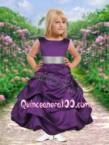 Purple Scoop Ankle-length Bowknot Flower Girl Dress with Pick-ups