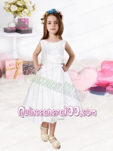 Romantic White Scoop Tea-length Hand Made Flowers Flower Girl Dresses