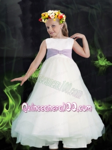 White A-Line Scoop Tea-length 2014 Flower Girl Dress with Belt