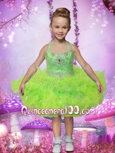 2014 Ball Gown Beading and Ruffles Halter Little Girl Dress in Spring Green